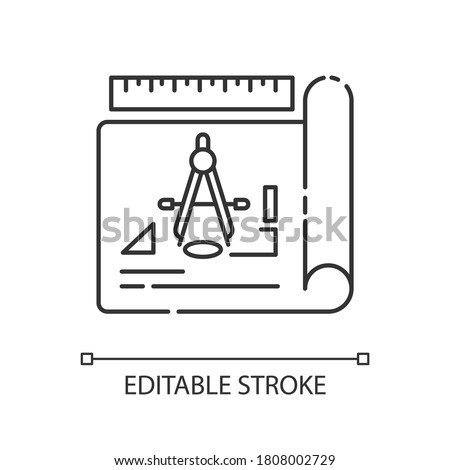 Drafting pixel perfect linear icon. Architectural planning, project thin line customizable illustration. Contour symbol. Blueprint with schematics. Vector isolated outline drawing. Editable stroke Stock photo ©