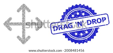 Drag N Drop textured seal imitation and vector recursion collage expand arrows. Blue stamp seal includes Drag N Drop title inside rosette. Foto stock ©
