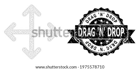 Drag N Drop textured stamp seal and vector expand arrows mesh model. Black stamp seal has Drag N Drop tag inside ribbon and rosette. Abstract 2d mesh expand arrows, created from triangular grid. Foto stock ©