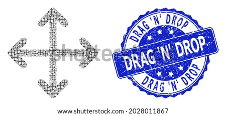 Drag N Drop unclean round stamp seal and vector recursion collage expand arrows. Blue seal includes Drag N Drop title inside round shape. Foto stock ©