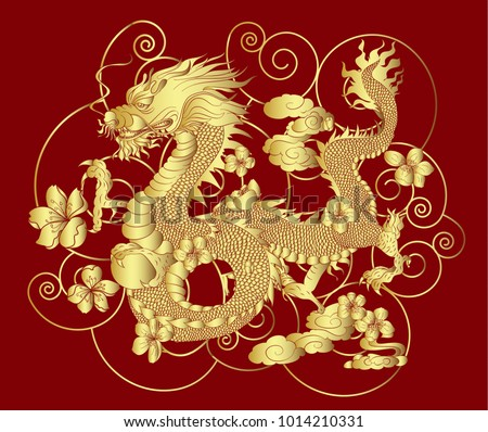 dragon and cherry blossom on