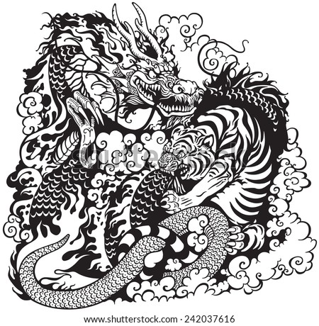 dragon and tiger fight  black