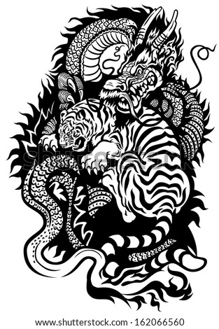 dragon and tiger fighting black