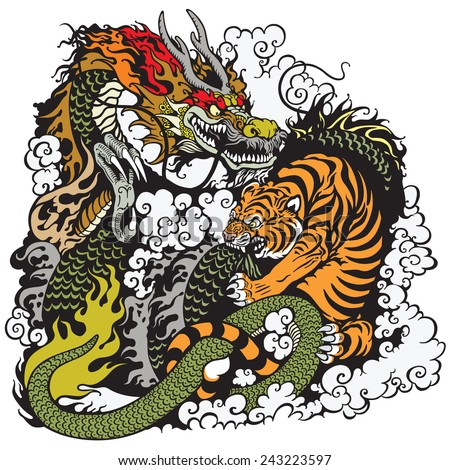 dragon and tiger fighting