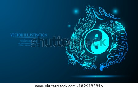 dragon and tiger on a dark blue
