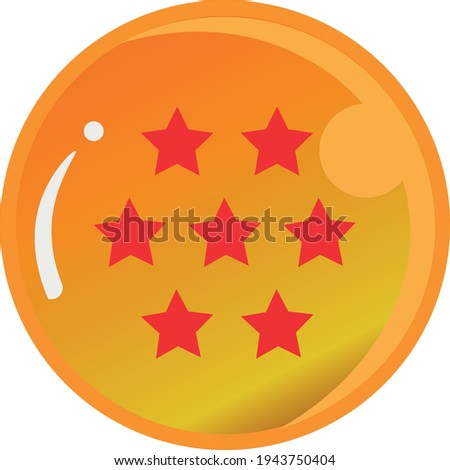 Dragon Ball series, vector of Dragon Ball Seven Star with gold color Good for icon from Dragon Ball's fans in the world