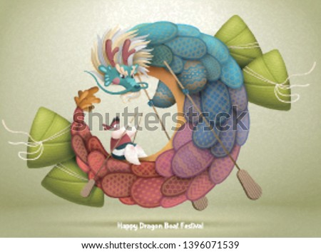 Dragon boat festival design with rice dumplings and lovely dragon
