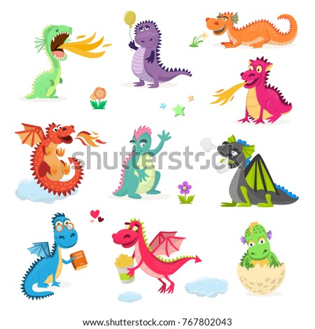 dragon cartoon vector cute