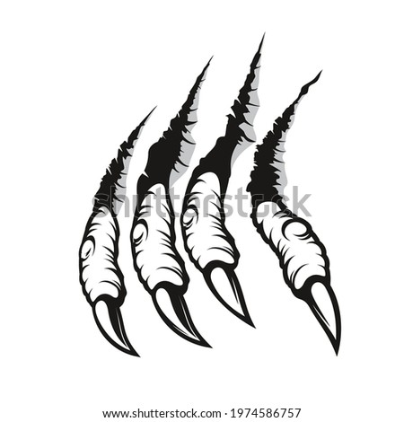 Dragon claw marks, monster fingers with long nails scratch and tear through paper or wall. Vector wild animal rips, paw sherds, beast break, four talons traces or marks isolated on white background Photo stock ©