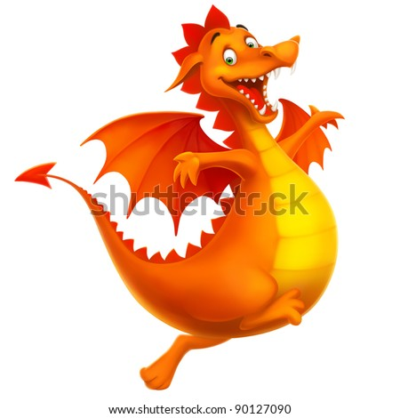 dragon cute smiling happy as