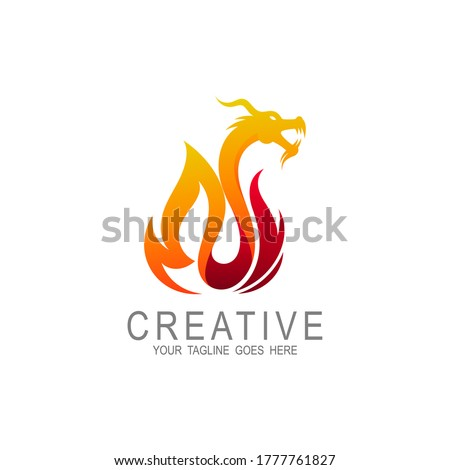 dragon fire flame logo design