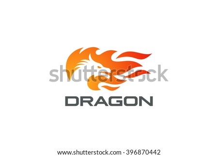 dragon fire flame logo design