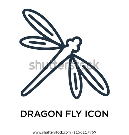 Dragon fly icon vector isolated on white background, Dragon fly transparent sign , thin pictogram or outline symbol design in linear style