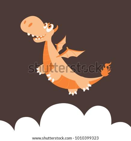 dragon flying high cartoon