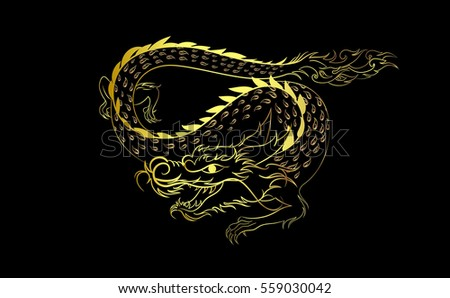 dragon gold painting