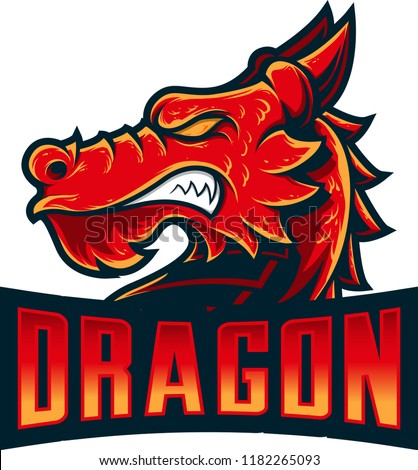 dragon head mascot with details style