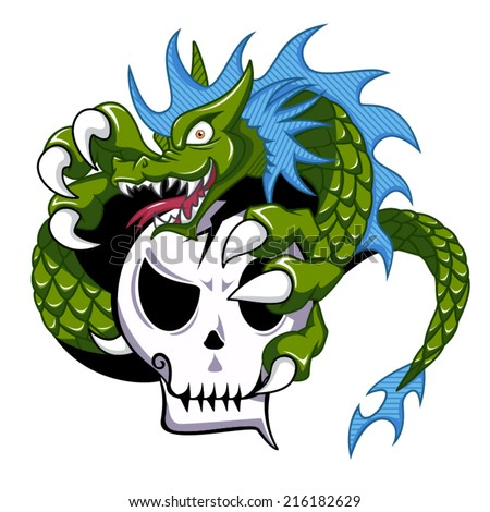 dragon holding skull  vector