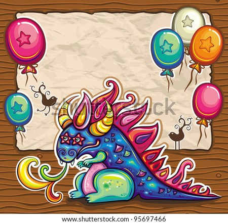 dragon holiday card vector