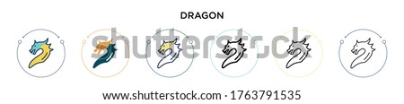dragon icon in filled  thin