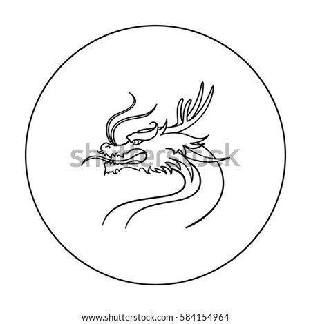 dragon icon in outline style