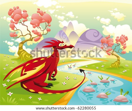 Dragon in landscape Cartoon and vector illustration isolated objects