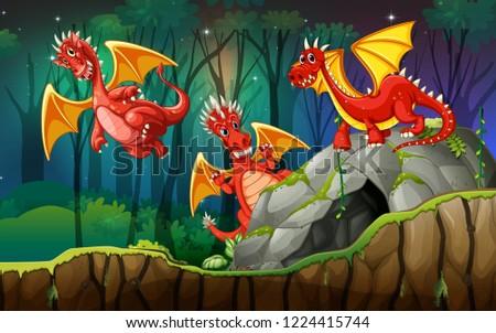 Dragon in magic land illustration