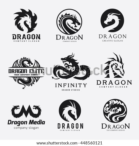 dragon logo set