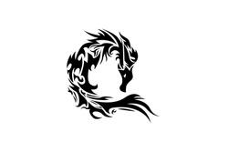 Dragon logo tribal tattoo. Design vector Icon illustration, emblem design on white background