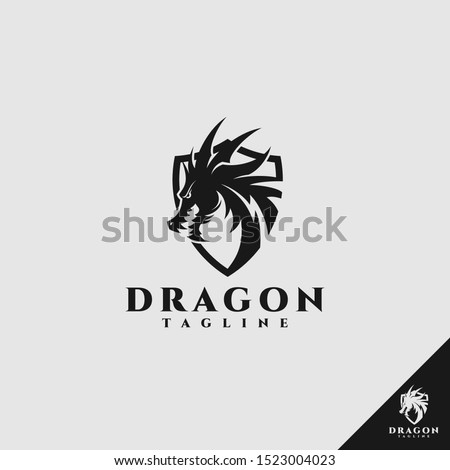 dragon logo with shield concept