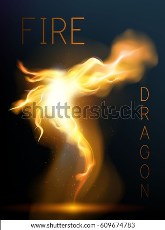 dragon made of fire flame