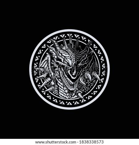 dragon myth circle black and