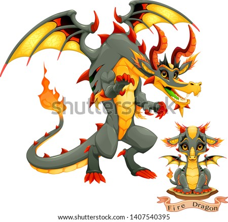 dragon of fire element in two