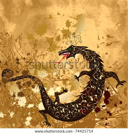 dragon on a background grunge