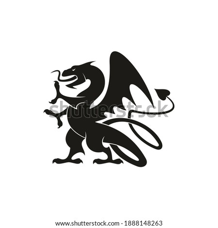 Dragon or gryphon isolated medieval heraldry beast. Vector mythical creature with eagle legs and wings ストックフォト ©