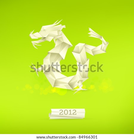 dragon origami  vector