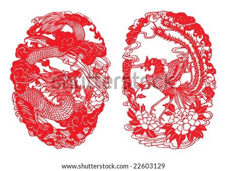 Dragon & Phoenix Paper-cut