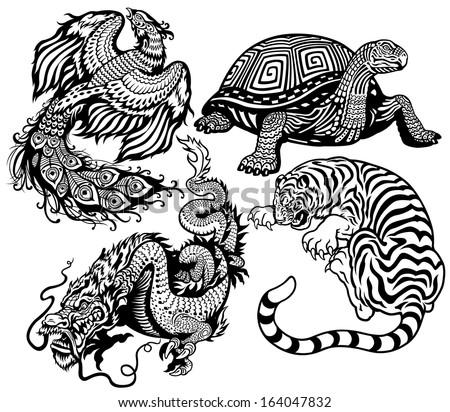dragon  phoenix  turtle and