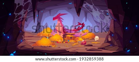 Dragon protect gold pile in cave, fantasy character guard treasure in mountain cavern. Magic creature of medieval fairytale, flying animal, book or computer game personage, Cartoon vector illustration Stock photo ©