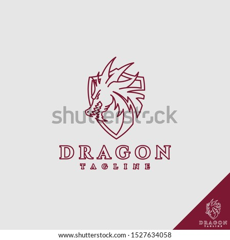 dragon shield with line art
