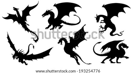 dragon silhouettes on the white