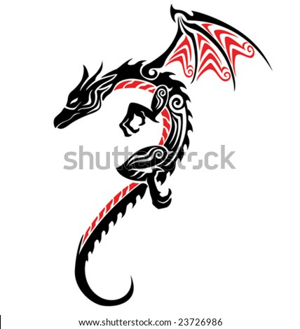 stock vector : dragon tattoo