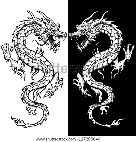 dragon tattoo in black and