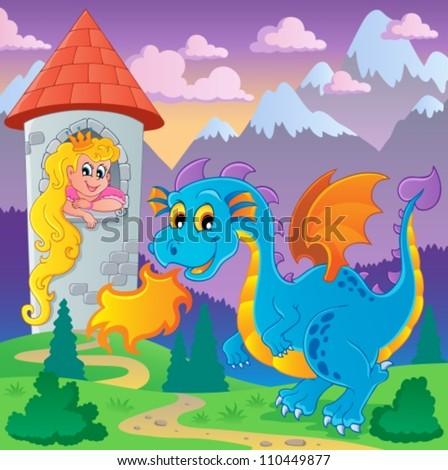 Stock Photo Dragon theme image 6 - vector illustration.