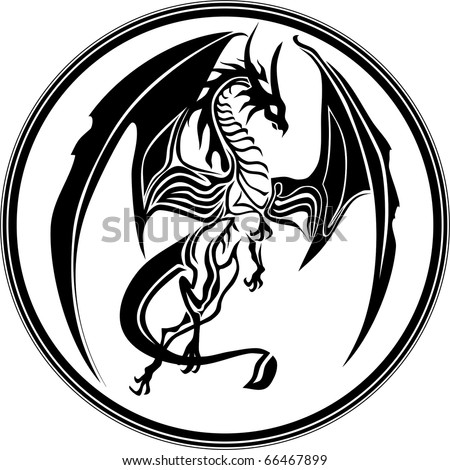 dragon tribal like - stock vector