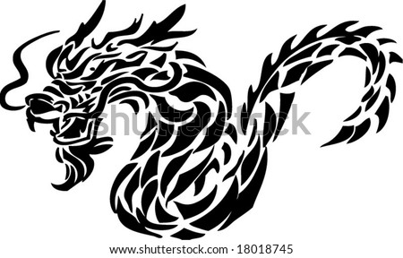 tribal tattoo dragon. stock vector : Dragon tribal