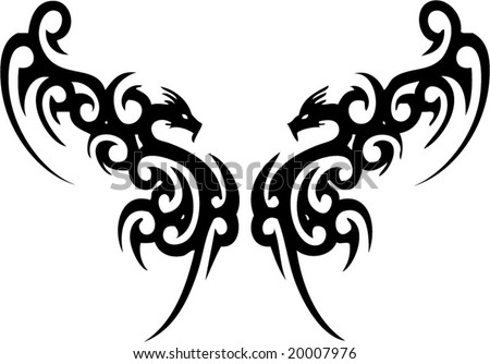 dragon tribal tattoos. stock vector : Dragon tribal
