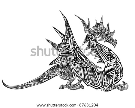 Dragon Tribal Tattoo Stock Vector 87631204 : Shutterstock