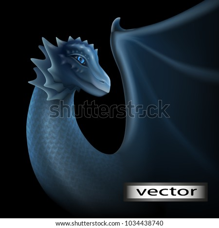 Stock Photo Dragon, vector illustration. Isolated on a black background. Gray blue color of the skin, scales of a dragon. Blue eyes, glow in the dark. Fantasy fairy picture.