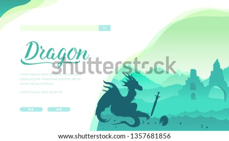 Dragon vector landing page template. Medieval legends and myths creature minimalistic illustration. Big reptile silhouette in castle ruins. Fairytales flat web banner layout design with text space
