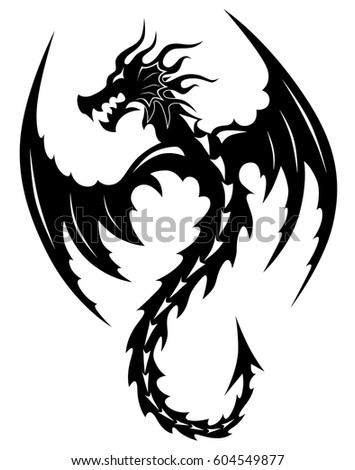 Dragon vector tattoo tribal isolated template on white background.
